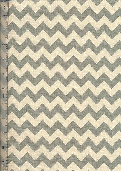 Linen Look Cotton - Green ZigZag