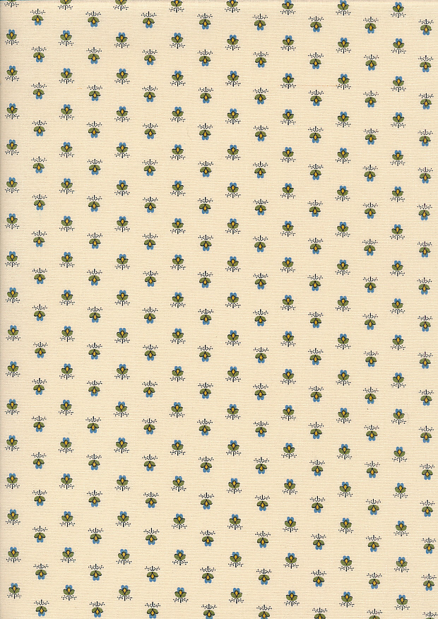 Andover Fabrics By Kathy Hall & Margo Krager - Blue Ditsy Flower Bloom Cream