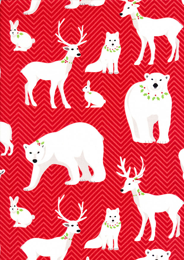 Benartex Nordic Holiday - Polar Bear Red