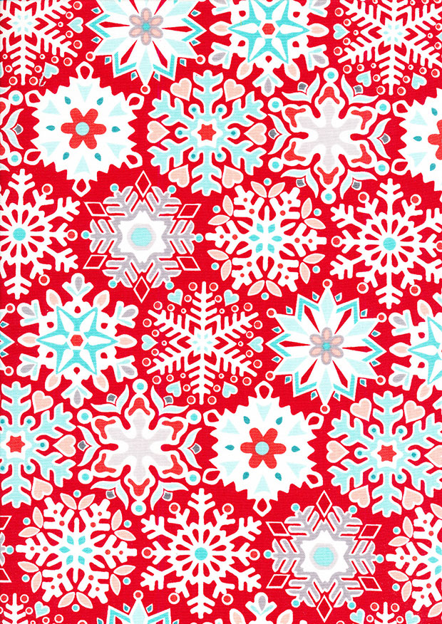 Benartex Nordic Holiday - Snowflake Red