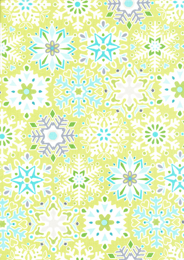 Benartex Nordic Holiday - Snowflake Lime