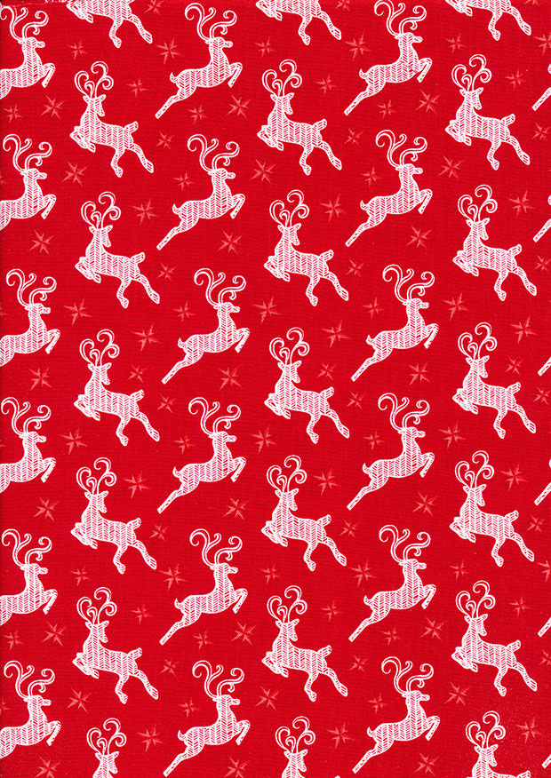 Benartex Nordic Holiday - Small Reindeer Red