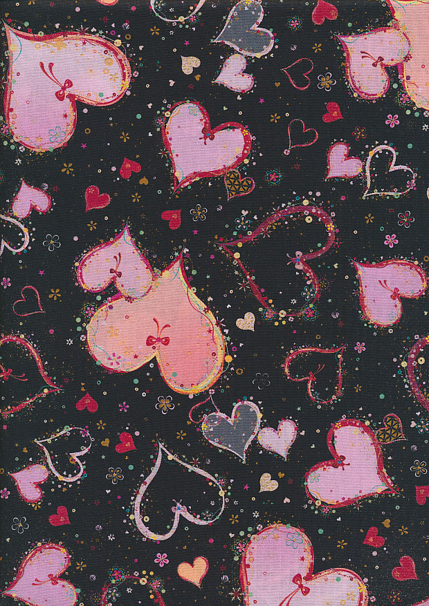 Quilting Treasures - Hearts Turnowsky SS-0003-1 Black