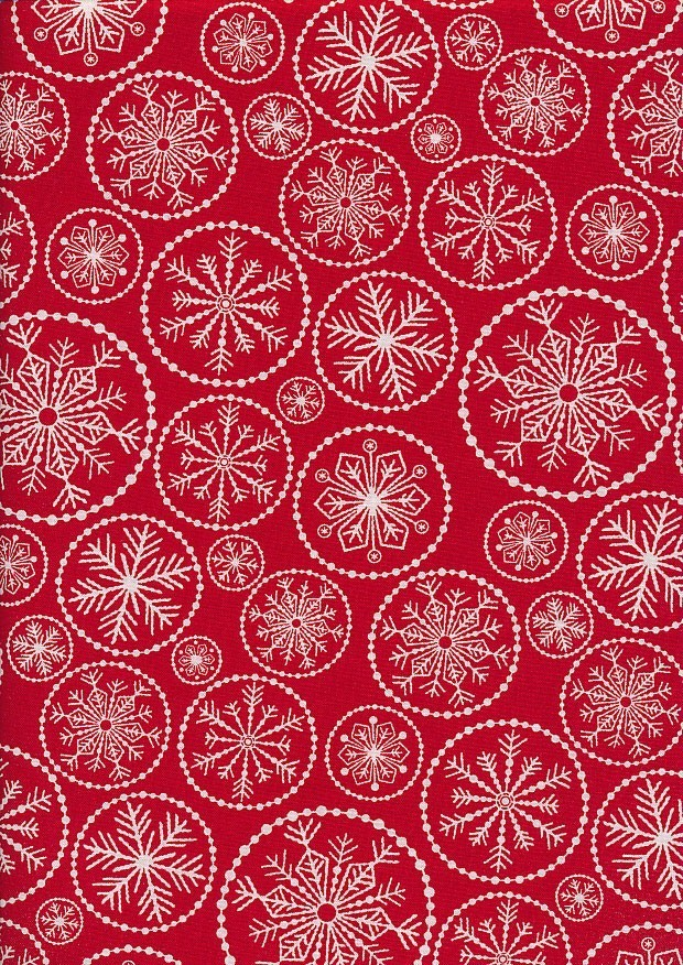 Christmas - Red With White Snowflakes In Rings