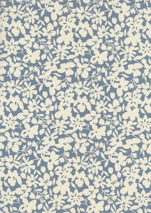 Cotton Print - 88491 Cream Floral On Blue
