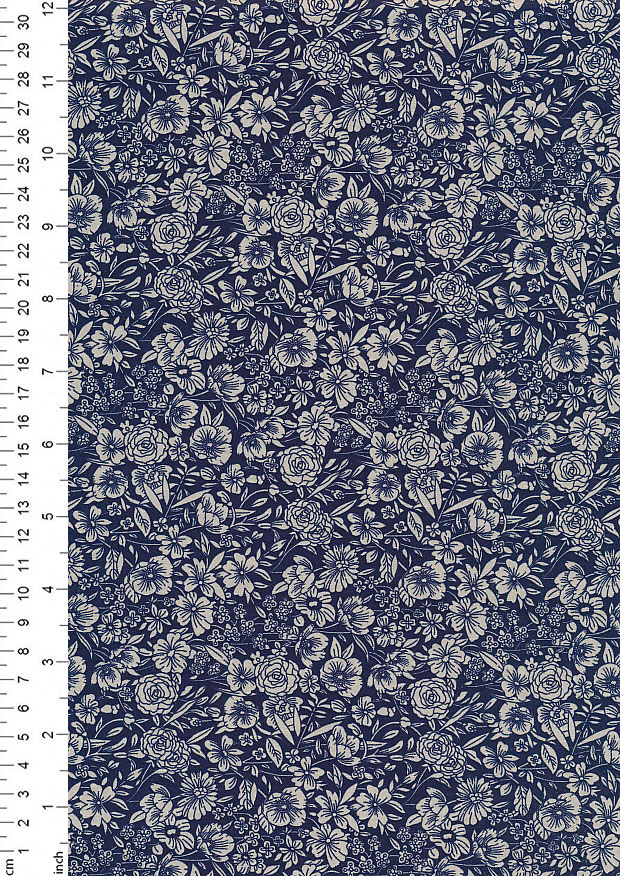 Rose & Hubble - Quality Cotton Print CP-0858 Navy