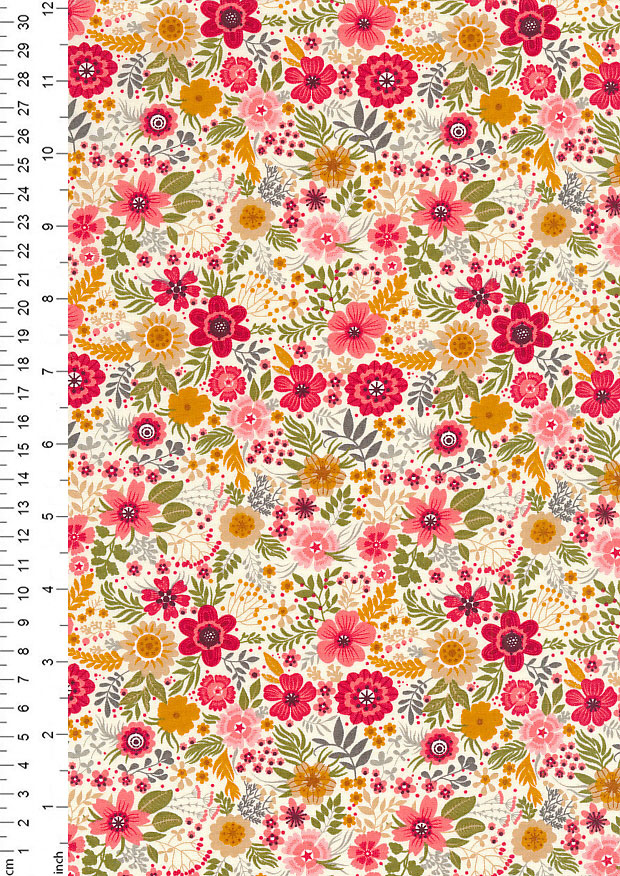 Rose & Hubble - Quality Cotton Print CP-0728 Ivory