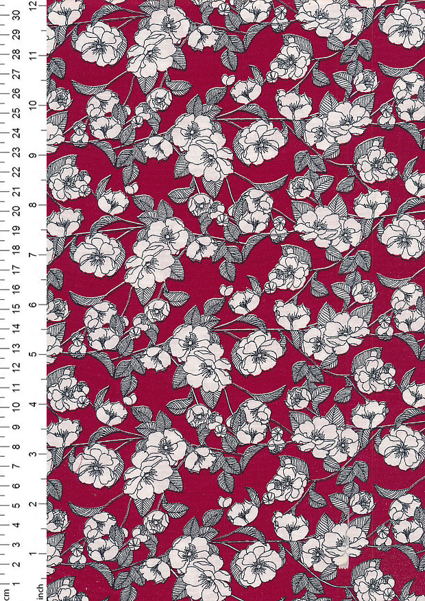 Rose & Hubble - Quality Cotton Print CP-0756 Burgundy