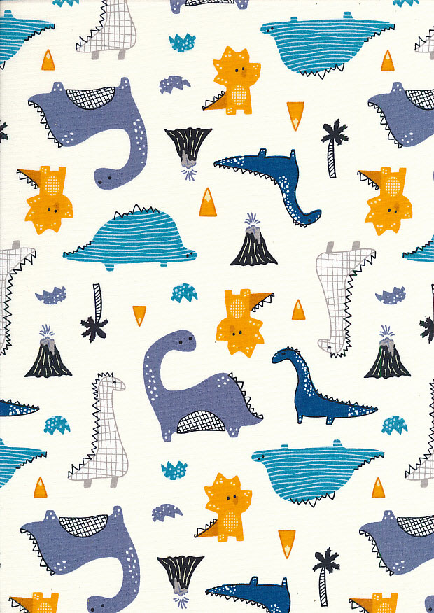 Rose & Hubble - Quality Cotton Print CP-0789 Ivory Dinosaurs