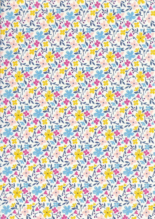 Quality Cotton Print - Scattered Floral White