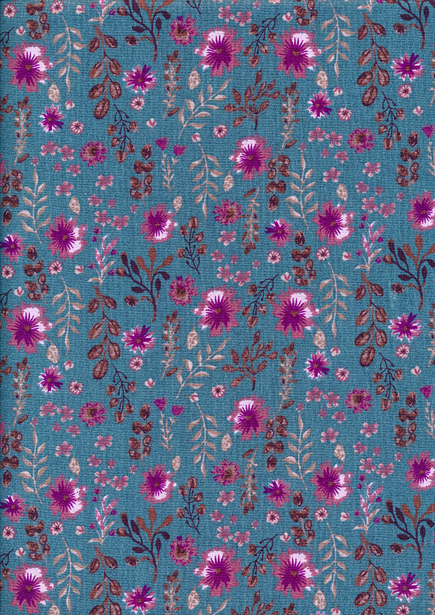 Craft Cotton Co - Flora and Fauna Floral Teal