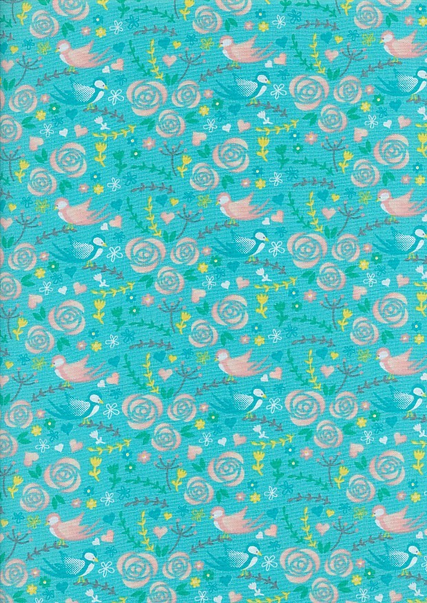 Craft Cotton Spring Is In The Air - Love Bird Turquoise