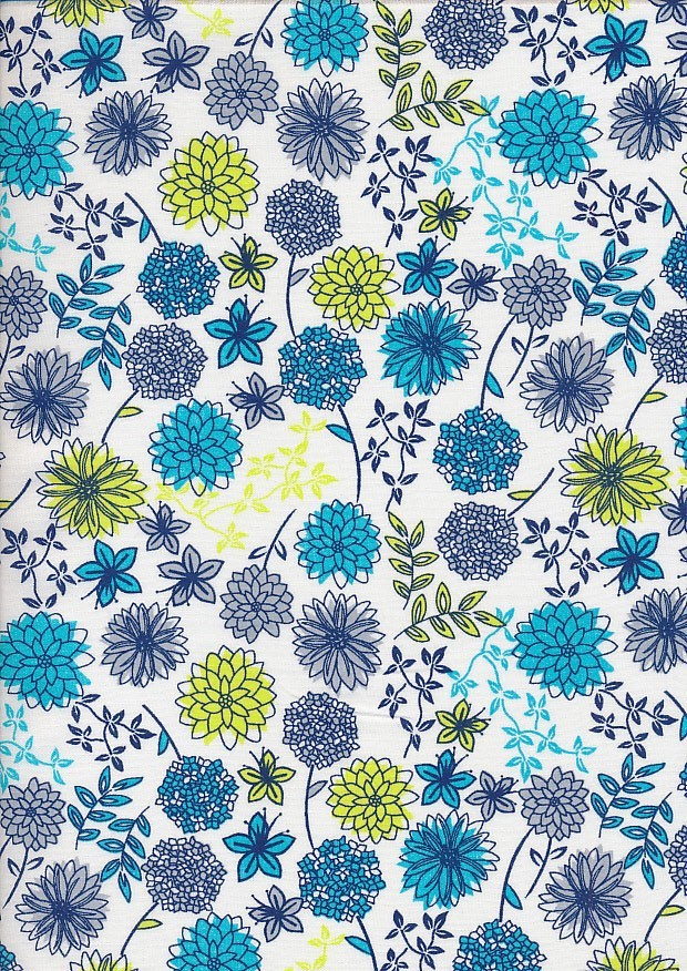 Craft Cotton Floral Sketch - Floral Spray White