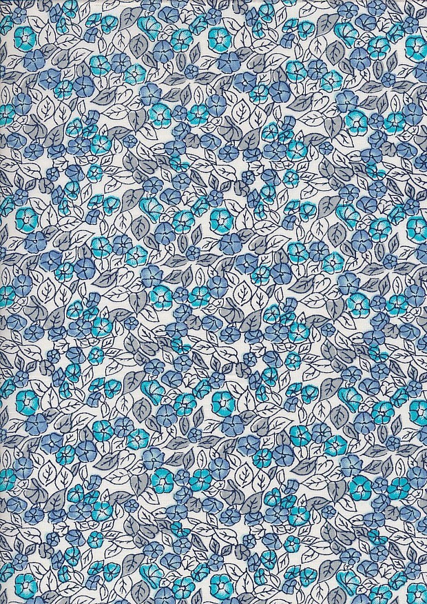 Craft Cotton Floral Sketch - Blossom Navy On White