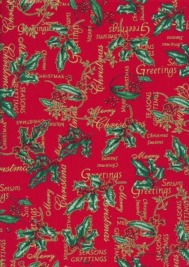 Christmas - Gilded Holly On Red