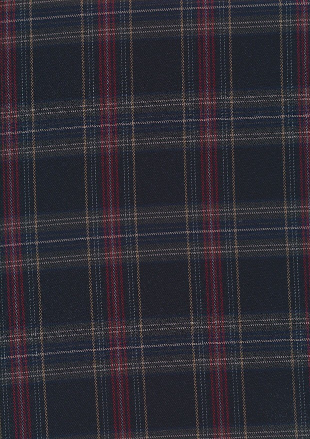 Cotton Poly Viscose Check - Red, Yellow & Navy
