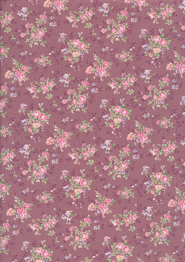 Fabric Freedom Daydream - Ditsy Floral Sprig On Dusty Pink