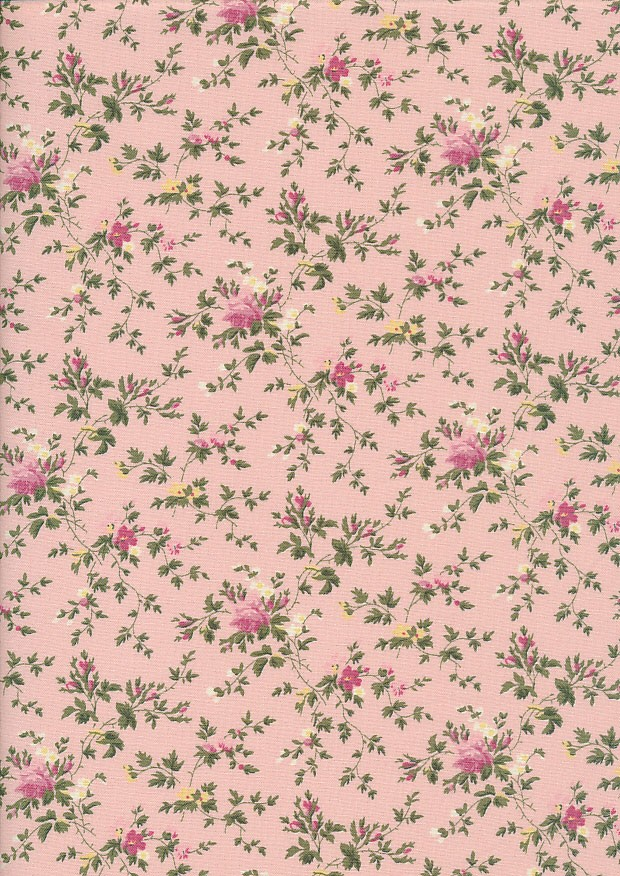 Fabric Freedom Daydream - Floral Sprig On Pink