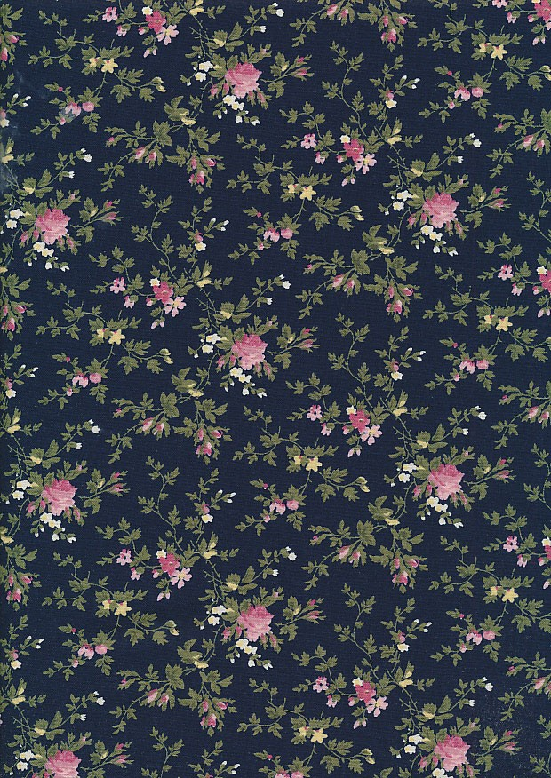 Fabric Freedom Daydream - Floral Sprig On Navy