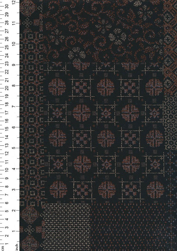 Sevenberry Japanese Fabric - Burn Orange Dots & Swirls On Black