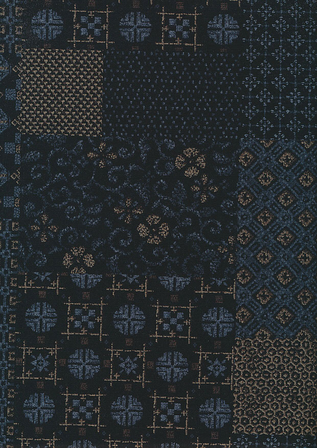 Sevenberry Japanese Fabric - Blue Dots & Swirls On Black