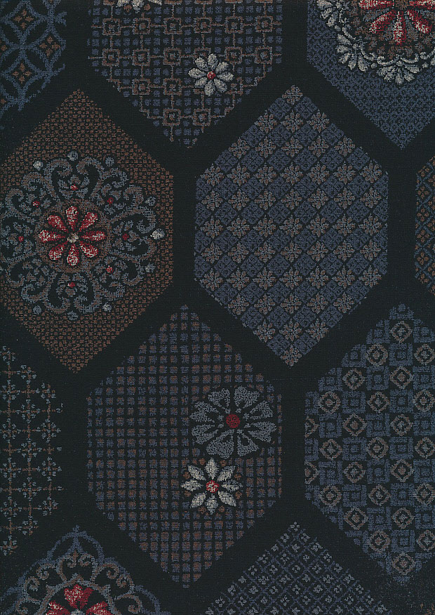 Sevenberry Japanese Fabric - Blue Floral Crest On Black