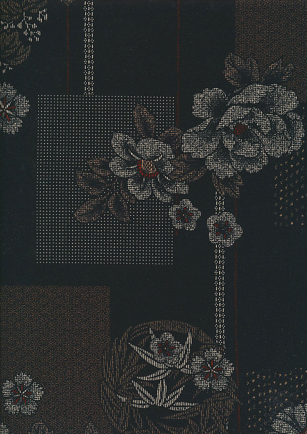 Sevenberry Japanese Fabric - White Floral On Black