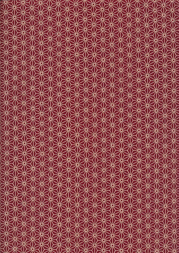 Sevenberry Japanese Fabric - Small Pressed Geometric Flower Red