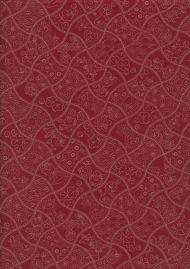 Sevenberry Japanese Fabric - Wavy Floral Red