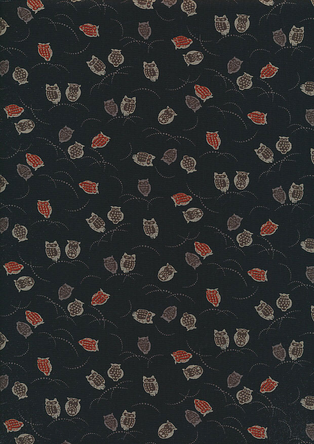 Sevenberry Japanese Fabric - Owls Black