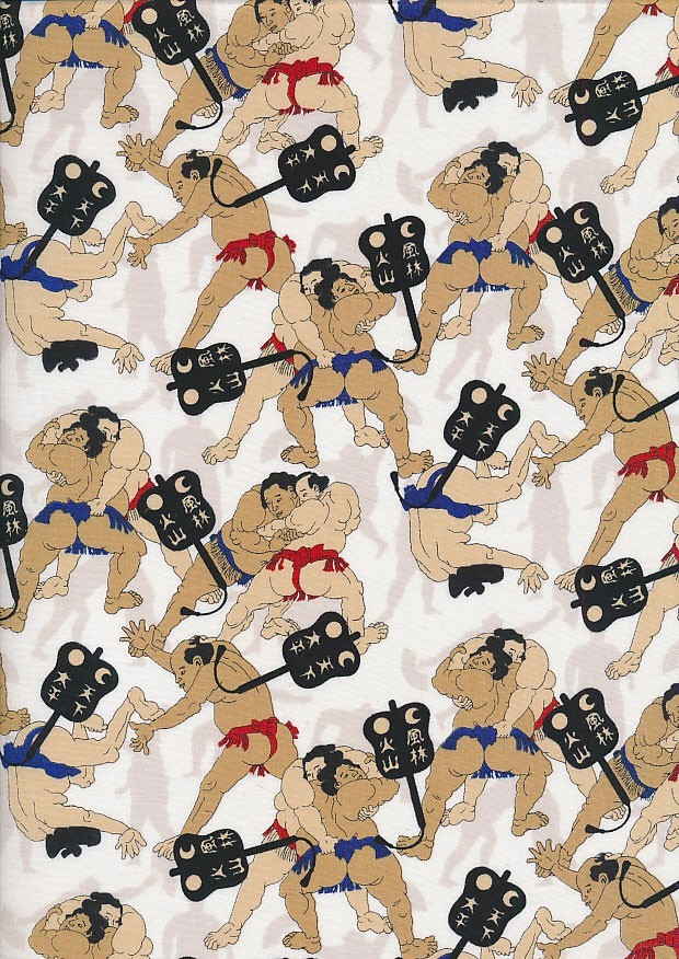 Sevenberry Japanese Fabric - Sumo Wrestlers White