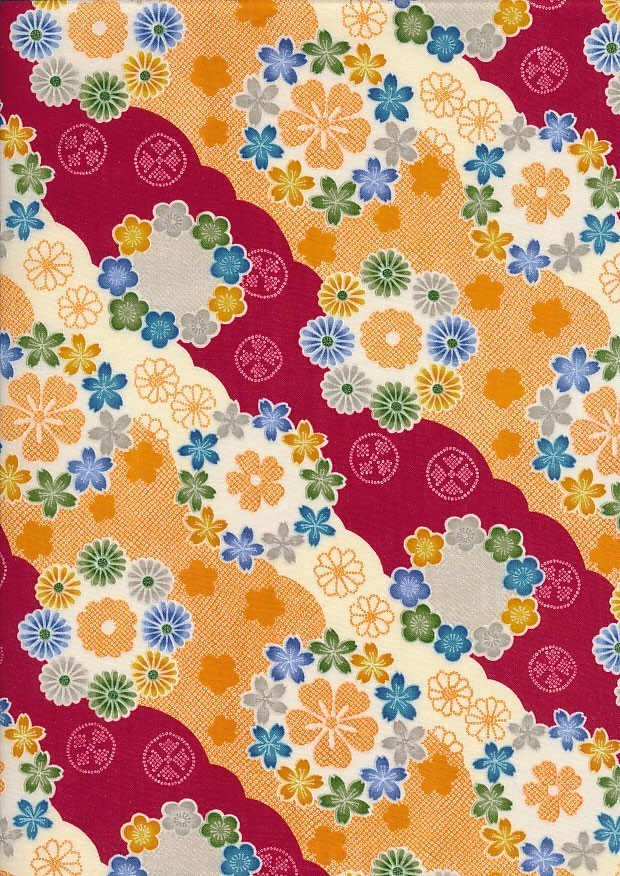 Authentic Gilded Japanese -Funky Flowers Red