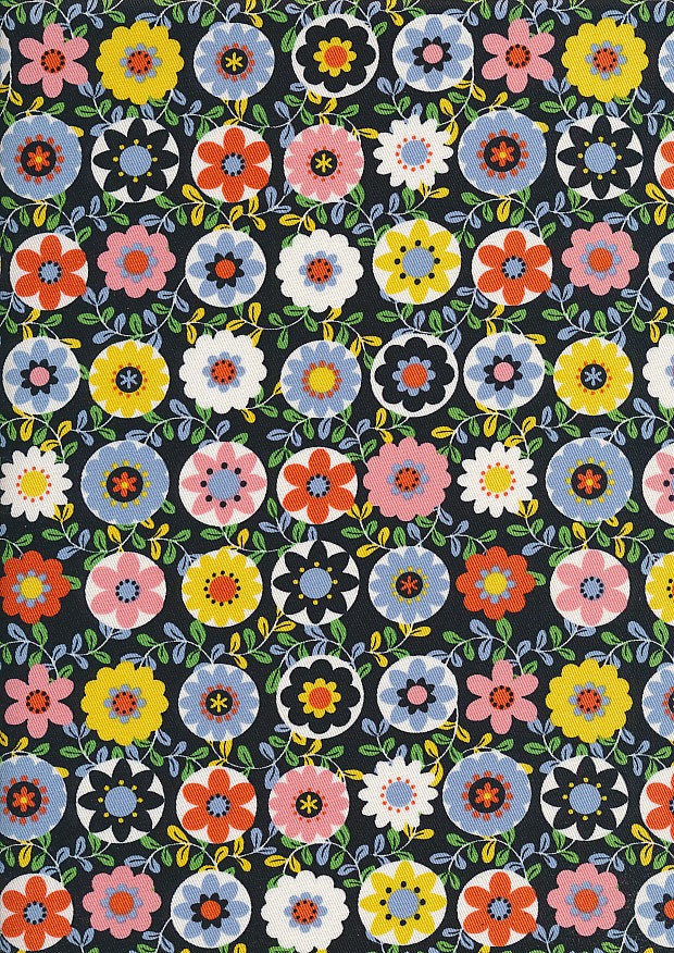 Sevenberry Japanese Fabric - Printed Twill Oops a Daisy Black