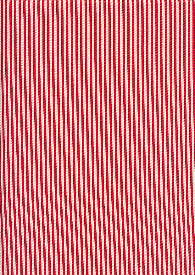 Sevenberry Japanese Fabric - Printed Twill Stripe Red