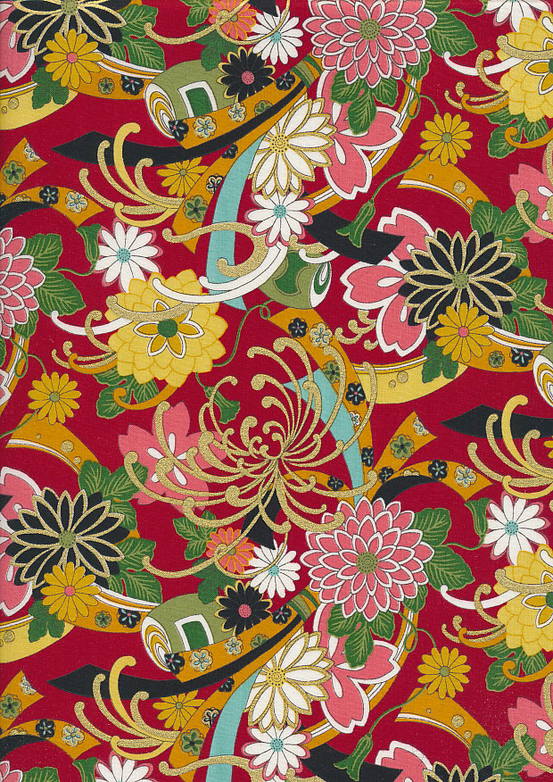 Authentic Gilded Japanese - Chrysanthemum Red