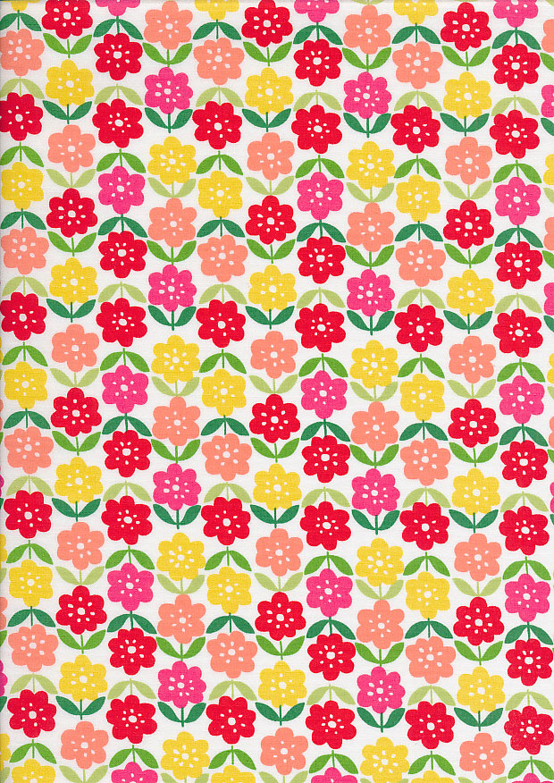 Sevenberry Japanese Fabric - Cotton Linen Mix  Flower Stamp Pink, Yellow, Red