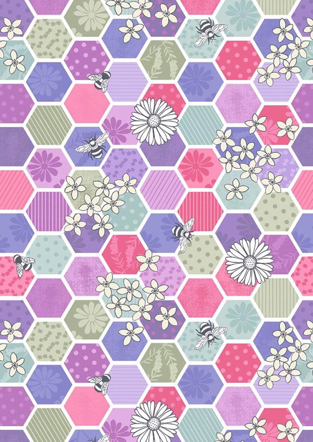 Lewis & Irene - Bee Kind A283.3 - Bee hexagons pinks