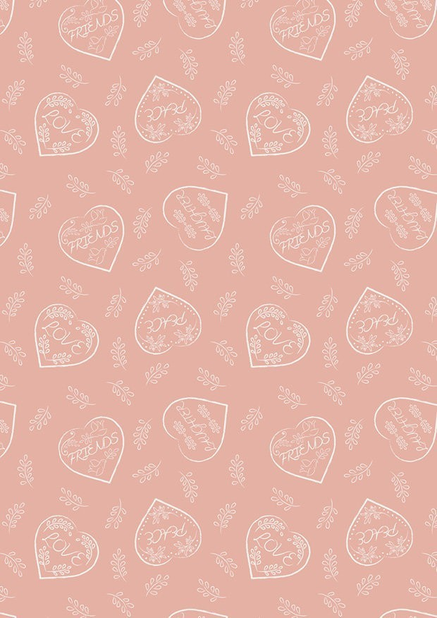 Lewis & Irene - Dove House A166.2 - Chalk hearts on blush