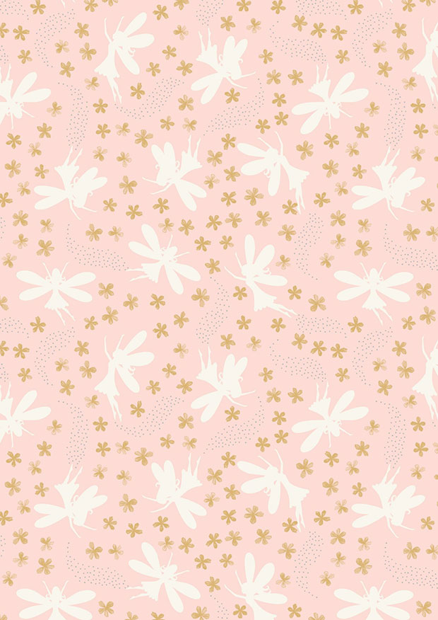Lewis & Irene - Fairy Clocks A507.1 Light pink floral fairies with silver metallic