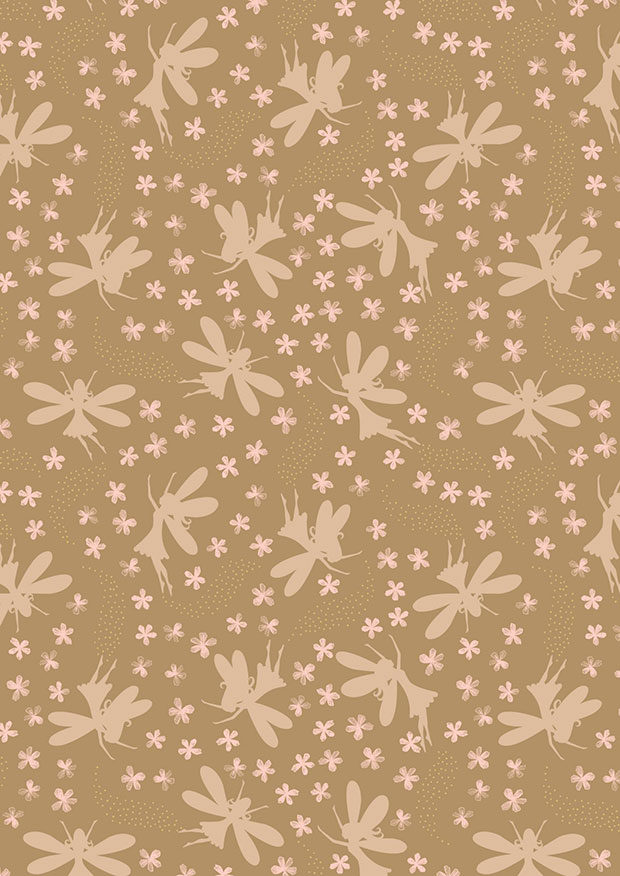 Lewis & Irene - Fairy Clocks A507.3 - Deep gold floral fairies with gold metallic