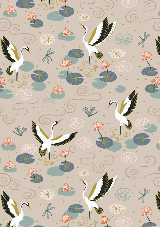 Lewis & Irene - Jardin de Lis A484.1 Natural heron lake with gold metallic