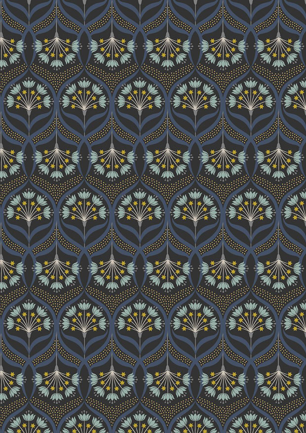 Lewis & Irene - Jardin de Lis A487.3 Star floral on black wth gold metallic