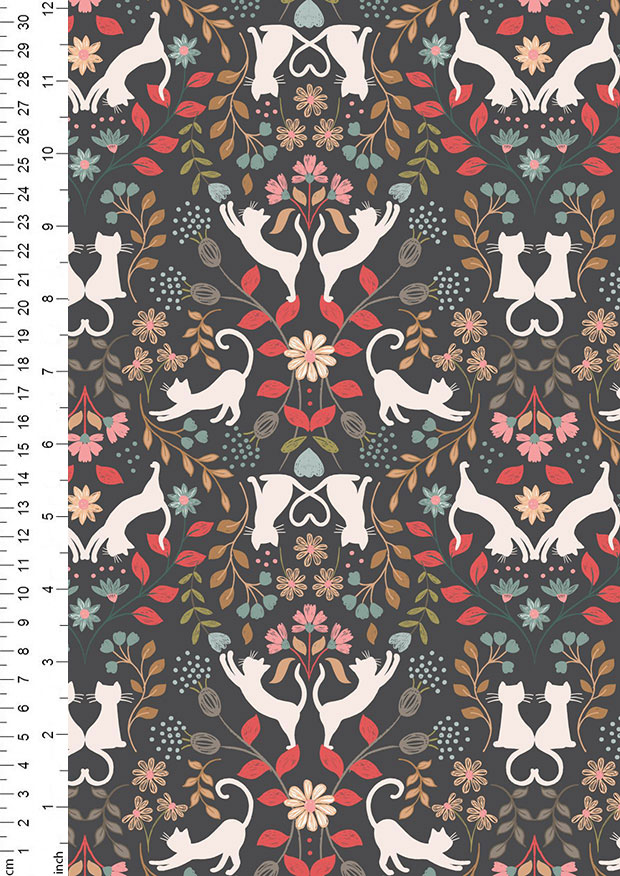 Lewis & Irene - Purrfect Petals A468.3 Love cats on charcoal