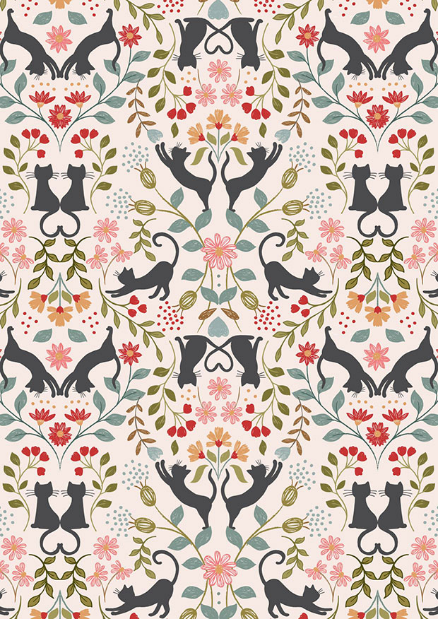 Lewis & Irene - Purrfect Petals A468.1 Love cats on cream