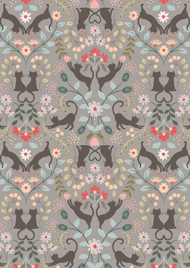 Lewis & Irene - Purrfect Petals A468.2 Love cats on mid grey