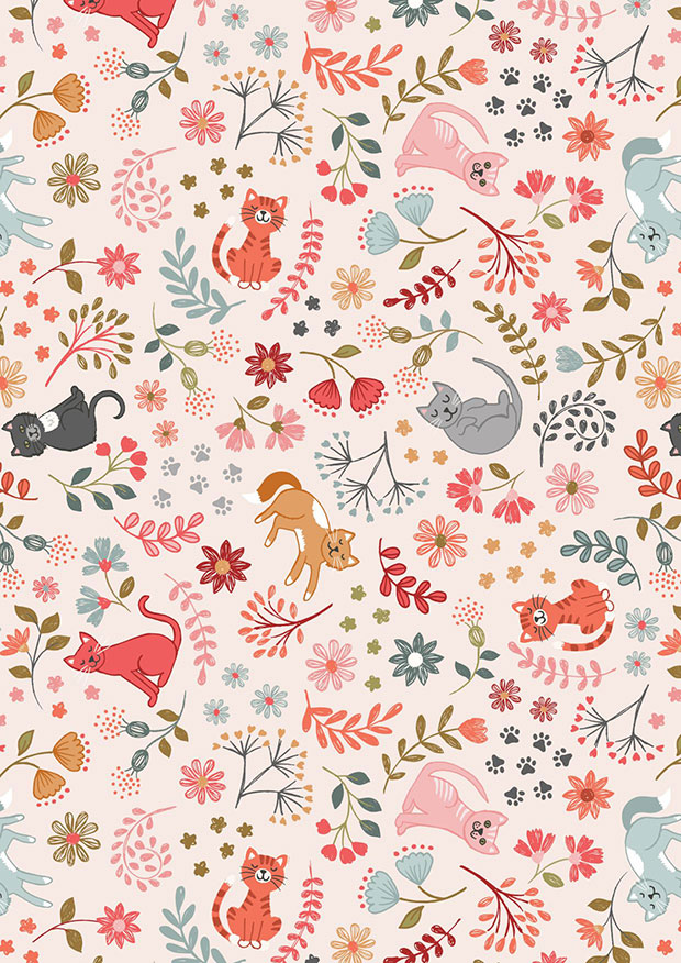 Lewis & Irene - Purrfect Petals A471.1 Floral cats on warm cream