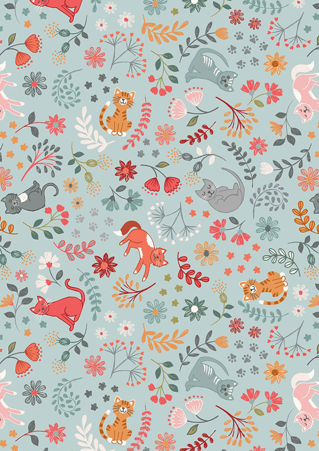 Lewis & Irene - Purrfect Petals A471.2 Floral cats on light blue