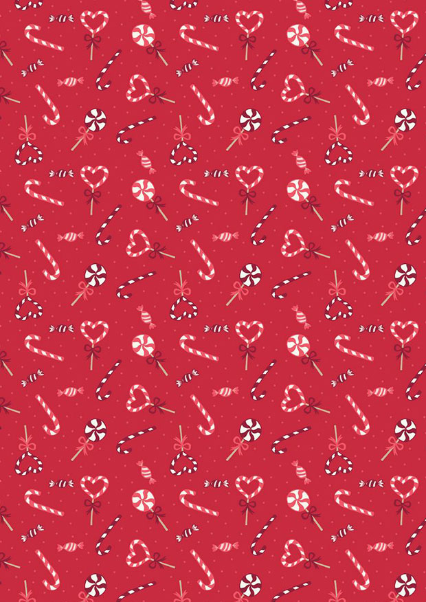 Lewis & Irene - Small Things At Christmas SMC7.3 - Candy Canes On Red