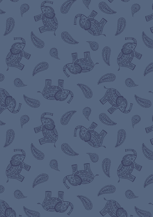 Lewis & Irene - Soraya A492.2 Paisley elephant on blue