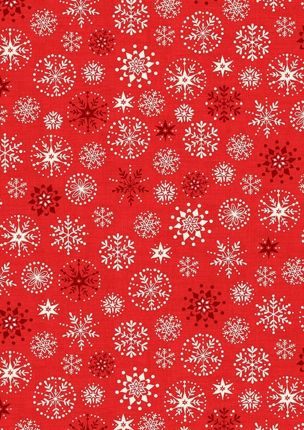 Makower Scandi Christmas - 1787/R Snowflakes Red